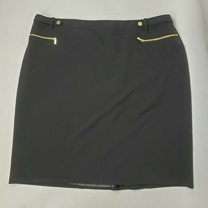 CALVIN KLEIN Black Gold Zipper Skirt Womens 20W